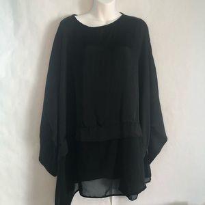 ASOS black blouse keyhole back women's size 22